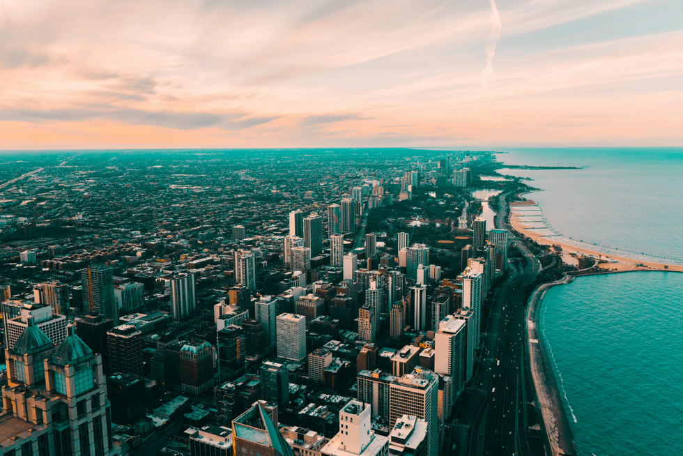 skyview of downtown Chicago