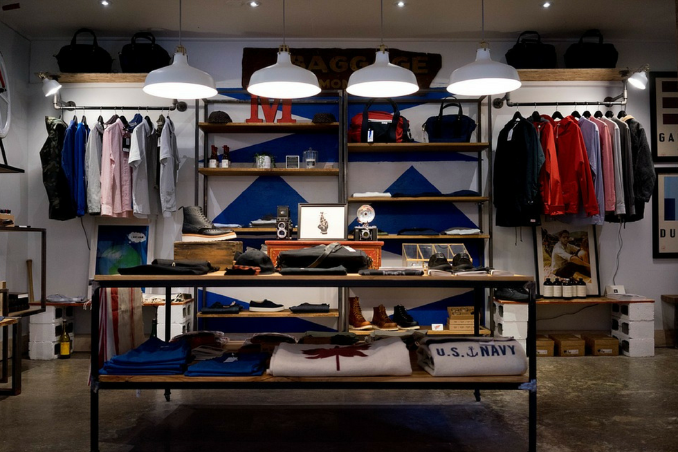 inside look of retail store's clothing display