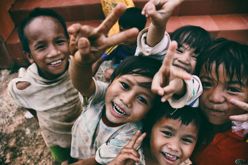 Children posing for the camera; nonprofits