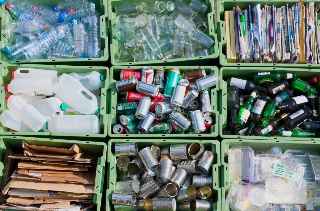 Recyclable waste organized into different bins