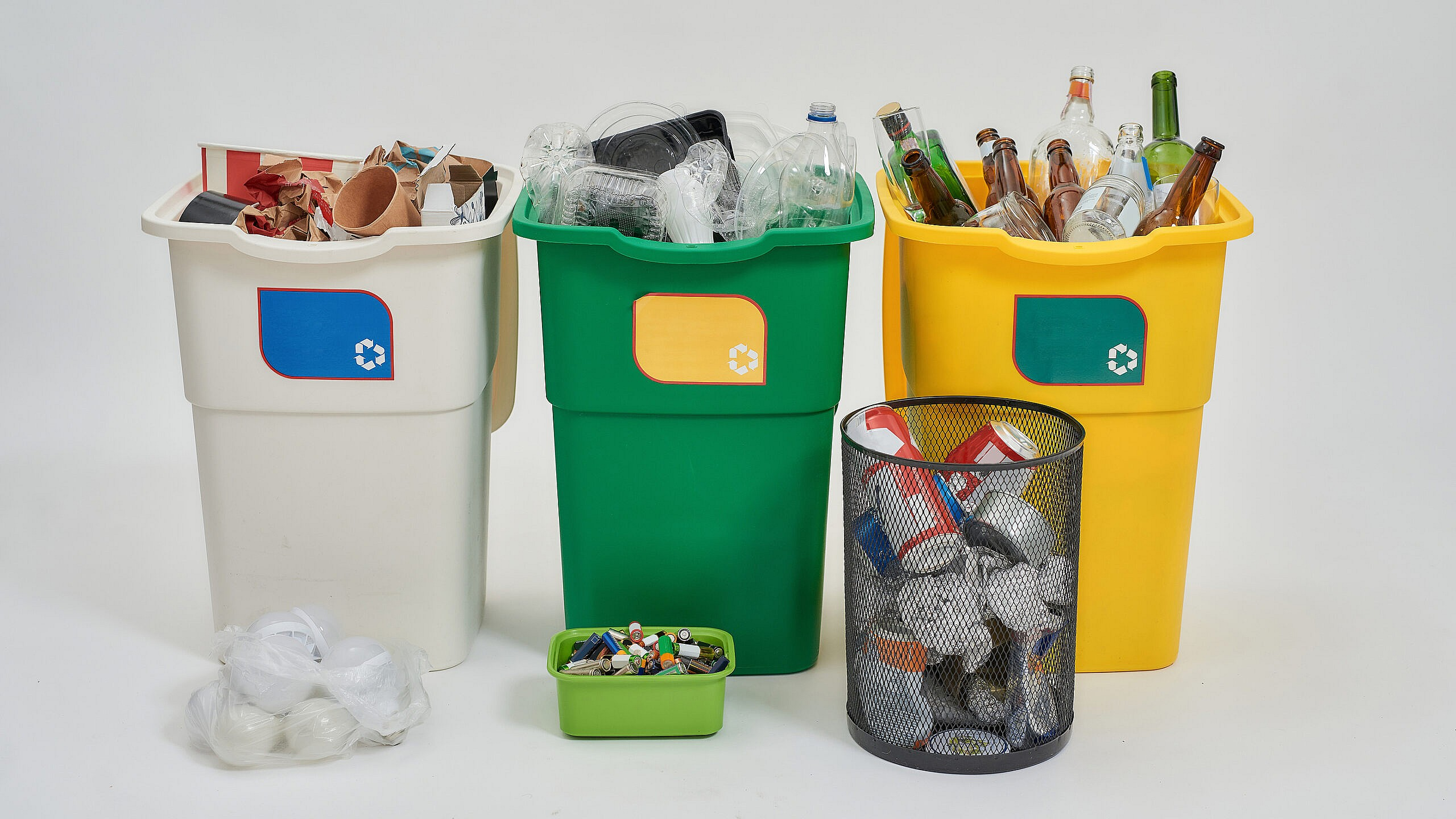Set Of Three Colorful Recycling Bins