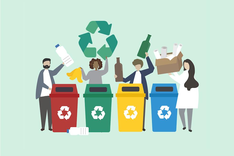 recycling bins in cartoon