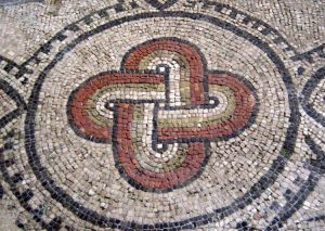Solomon's knot represented in an ancient Roman mosaic located in Aquileia, Italy.